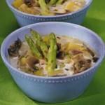 Сливочный суп с грибами и спаржей
