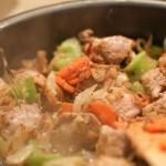 Рагу из молодых овощей со свининой