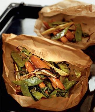 Овощи, запечённые в пергаменте