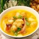 Суп гороховый с копчёностями и беконом, в горшочке