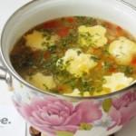 Суп с яичным суфле и зеленью