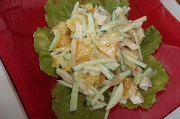 Салат из птицы и свежих огурцов