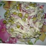 Салат из белокочанной капусты с зелёным горошком