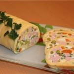 Сырный рулет с салатом «Оливье»