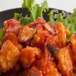 Отварная курица с кизиловым соусом