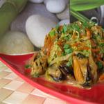 Салат с мидиями и пекинской капустой (тёплый)