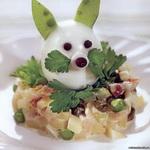 Тёплый овощной салат «зайчики»