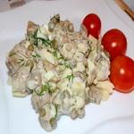 Закуска из баклажанов с луком и зелёным горошком