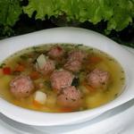 Овсяный суп с мясными шариками