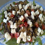 Тёплый салат из баклажанов с фетой