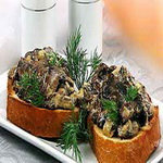 Бутерброды с запеченными шампиньонами