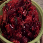 Грибной салат со свеклой,  постный