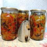 Салат из овощей с баклажанами