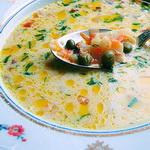 Суп из кольраби с зелёным горошком