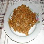 Тушеный капустняк со свиным фаршем и рисом
