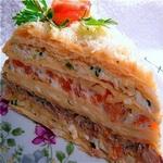 Закусочный торт с рыбой