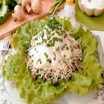 Яичный салат с печеными шампиньонами