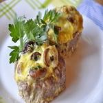 Котлеты с грибами и сыром, запеченные