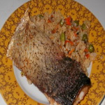 Толстолобик с рисом и луком