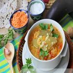 Суп из чечевицы и баклажанов