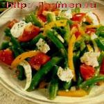 Салат из стручковой фасоли с брынзой