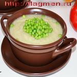Суп из горошка, с пастой