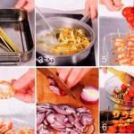 Тёплый салат из макарон с запечёнными креветками и помидорами