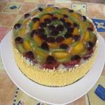 Торт из творога, с фруктами