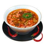 Куриный суп с фасолью и шпикачками