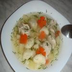 Овощной суп с клёцками из манки и творога