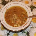 Суп гречневый, с обжаренным картофелем