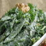 Салат из стручковой фасоли с кинзой и укропом