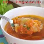 Суп с помидорами и зеленью