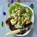 Яичный салат с рыбой