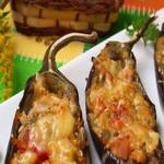 Баклажаны, фаршированные копченой колбасой